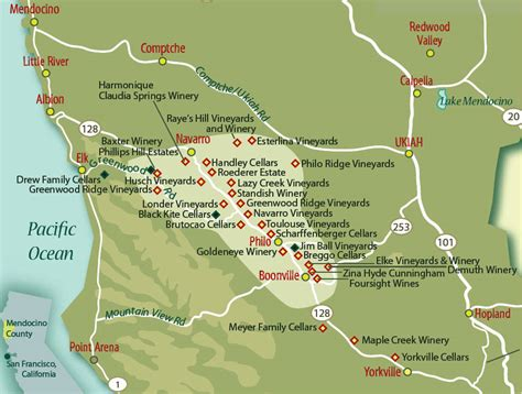 wine country northern california map mendocino county part 2 how to get there wineries to