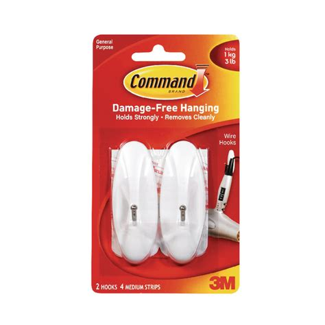 3m Command Clear Medium Hooks With Clear Strips 17091clr Murah 3m command medium wire hooks with command strips 17068