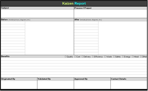 continuous improvement form template kaizen report template continuous improvement toolkit