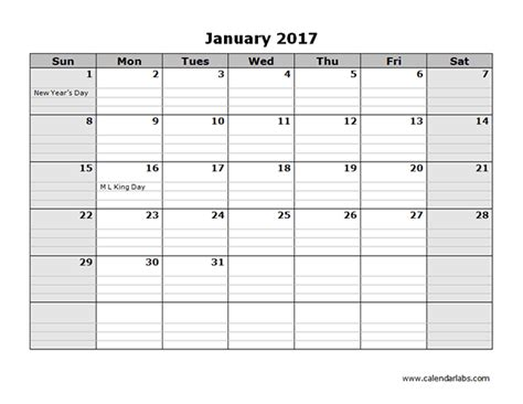 Printable Calendar With Holidays And Lines 2017 Monthly Calendar Template 08 Free Printable Templates