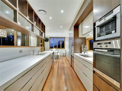 Kitchen Layout Ideas Galley by Modern Galley Kitchen Design Using Floorboards Kitchen