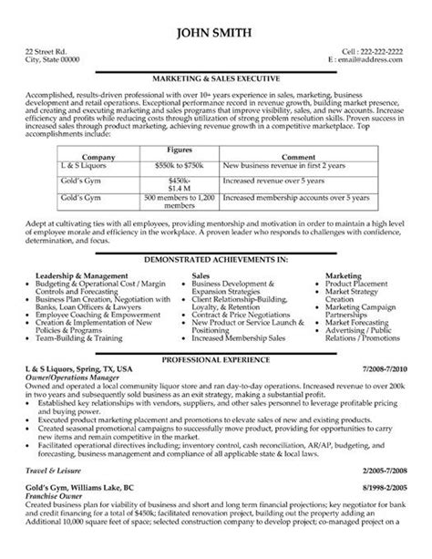 sle marketing resumes 59 best images about best sales resume templates sles