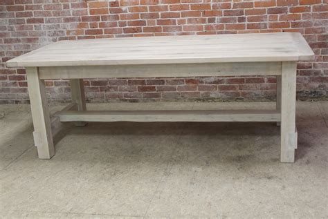 white washed stretcher farm table in white wash finish08