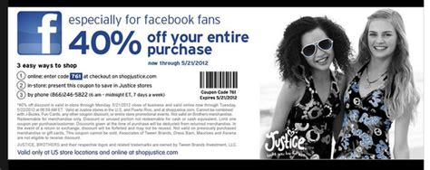 justice coupons 40 off printable 2012 justice 40 off printable coupon via facebook al com