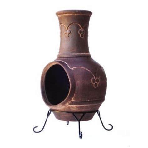 clay chiminea in smoked brown kd 016 the home depot