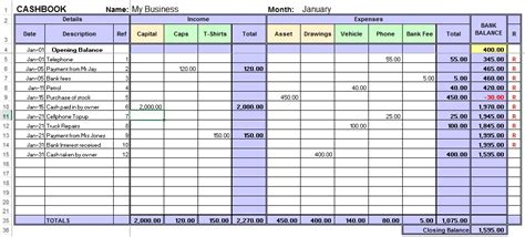 bookkeeping layout excel cashbook for easy bookkeeping