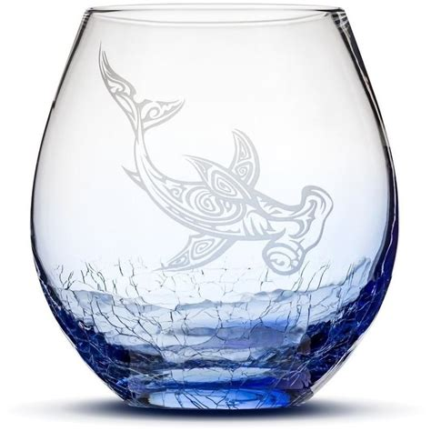 tribal pattern glasses choose your crackle wine glass with tribal sea animal