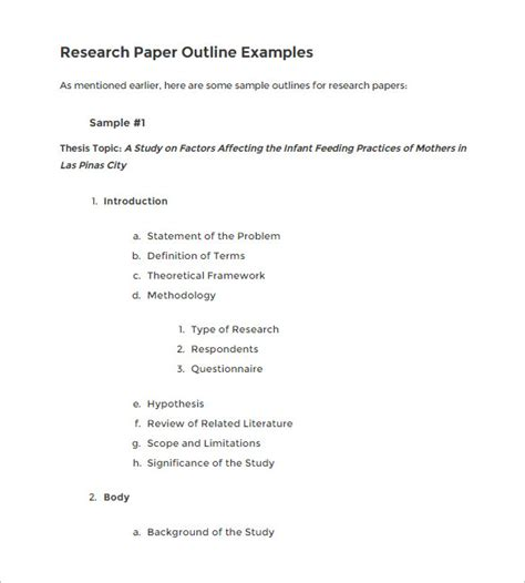 exle of a outline for a research paper 7 blank outline templates free word pdf documents