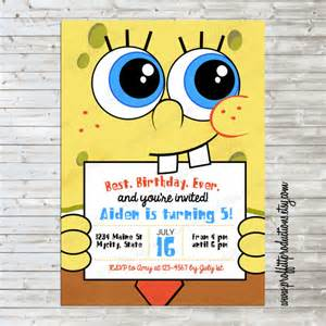 items similar to modern spongebob birthday invitation on etsy