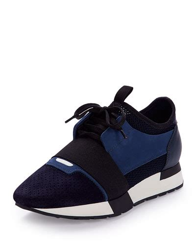 balenciaga race runner fabric leather and suede sneakers variante bleue modesens