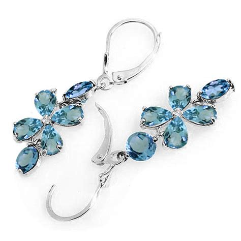 Blue Topaz Chandelier Earrings 5 32 Carat 14k Solid White Gold Chandelier Earrings Blue Topaz Ebay