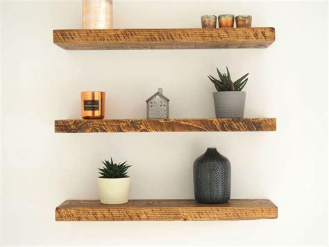 rustic chunky pine floating shelves shelf mantle timber uk
