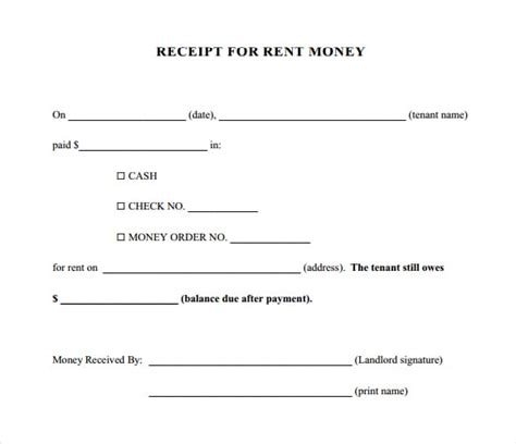 template for receipt of rent payment 6 free rent receipt templates excel pdf formats