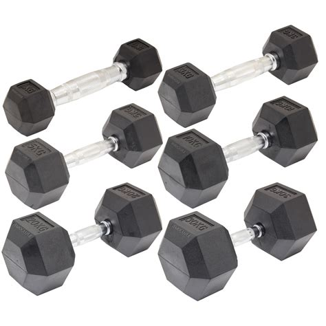 Fitness Senam Solid Rubber Coated Hexagonal Dumbbell 1kg rubber dumbbell hex weights biceps workout 2 60kg