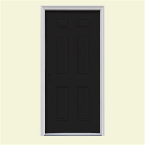 Painting 6 Panel Interior Doors Jeld Wen 37 438 In X 81 75 In 6 Panel Black Painted W White Interior Steel Prehung Right