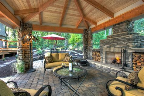 outdoor living spaces plans private paradise portland landscaping rustic patio