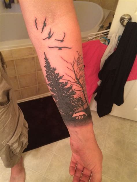forest sleeve tattoo with bear tat pinterest tattoo