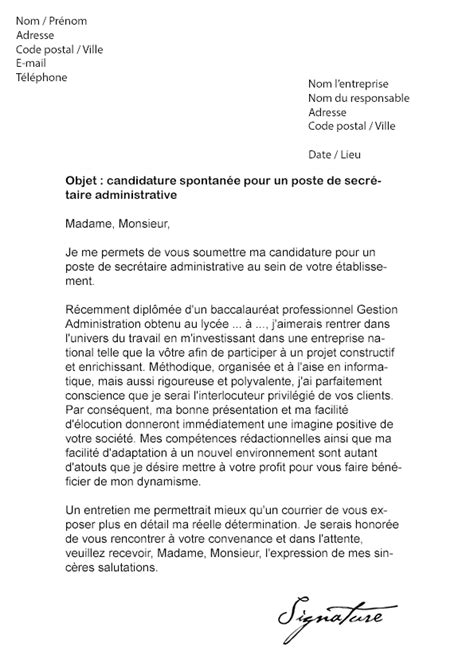 Exemple De Lettre Motivation Administration Lettre De Motivation Secr 233 Taire Administrative Mod 232 Le De Lettre