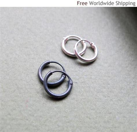 cartilage hoop earring black sterling silver hoops for