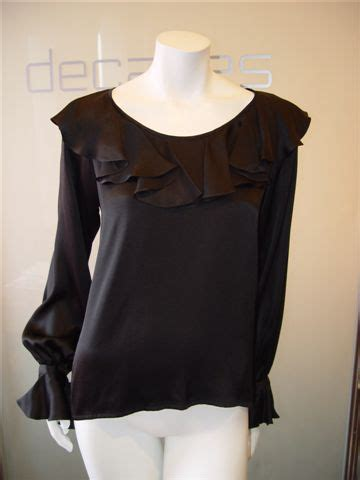 Jaqueer Ruffle Blouse Be2841 01 Black Blouse decades inc ysl black ruffle blouse
