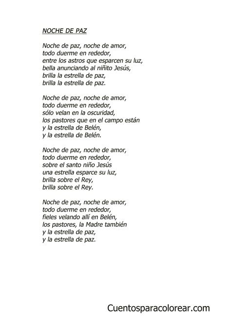 printable lyrics to noche de paz noche de paz canciones infantiles