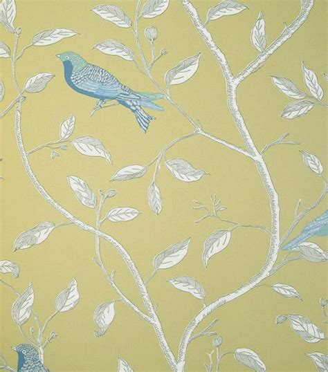 wallpaper for walls with birds finches yellow wallpaper by sanderson for the walls