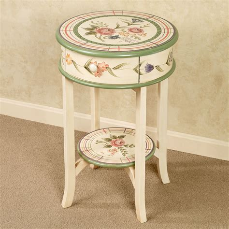 flower accent table bonbon handpainted floral round accent table