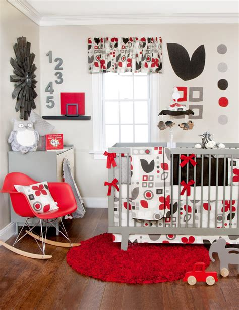 piper crib bedding set red white gray  black