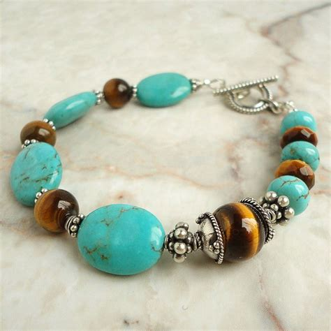 Handmade Jewelry - turquoise tiger eye bracelet with bali sterling silver