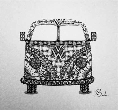 hippie van drawing zentangle zendoodle vw cervan crafts pinterest vw