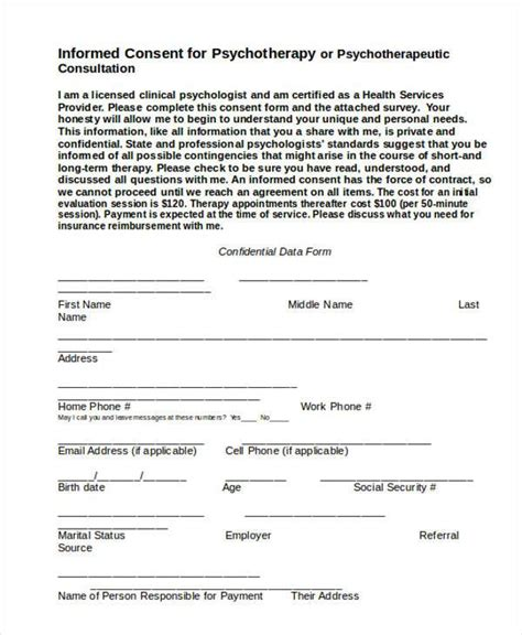 consent form psychology template sle psychology consent forms 7 free documents in