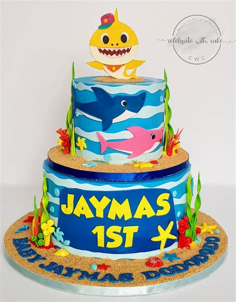 baby shark bday cake celebrate with cake baby shark rotating two tiers 1st