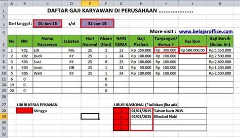 format gaji harian download format menghitung gaji karyawan rumus excel