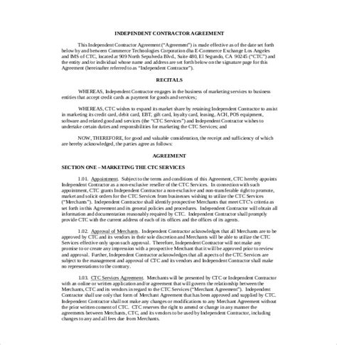 21 Commission Agreement Template Free Sle Exle Format Download Free Premium Templates Independent Contractor Agreement Template