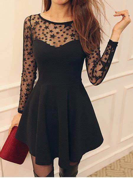 cute black star pattern long sleeve dress pretty dresses