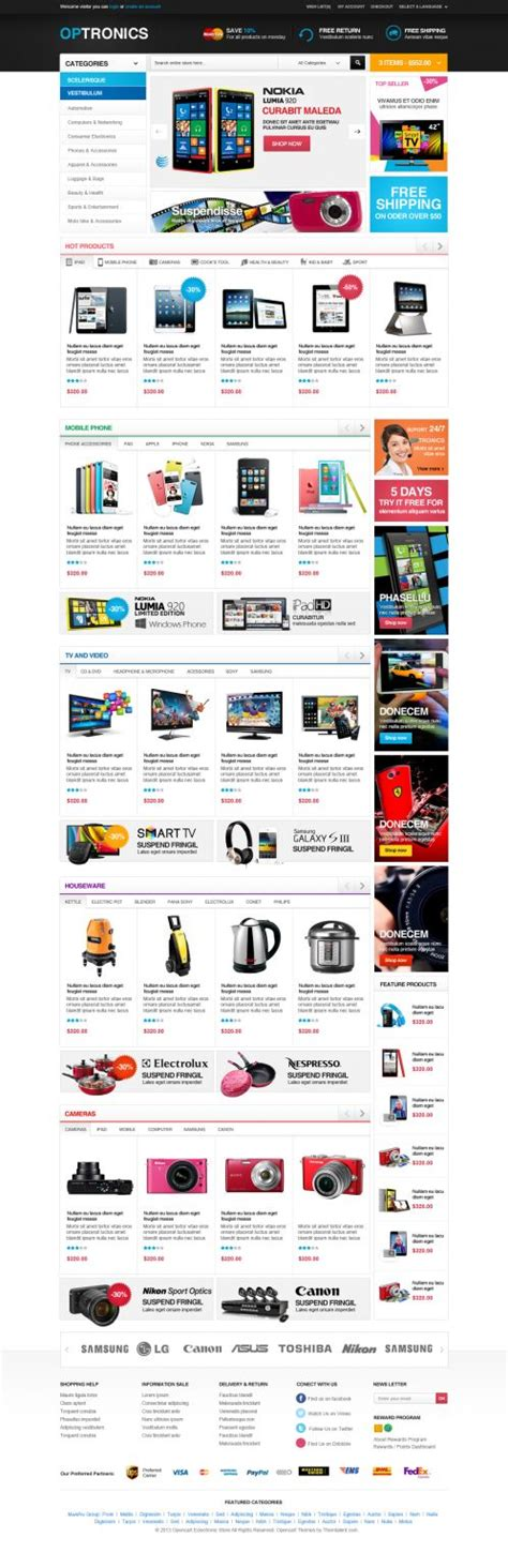 opencart themes design supermarket opencart theme optronics boss themes