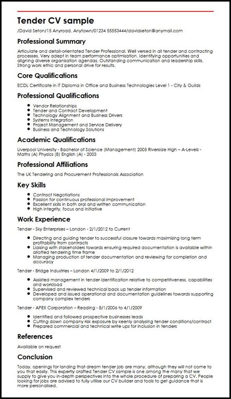 tender cv sle myperfectcv