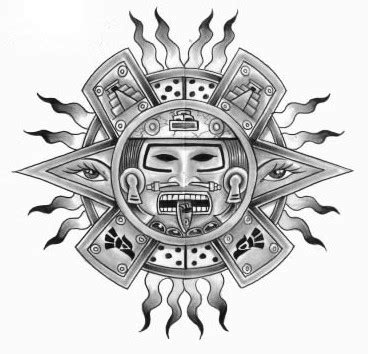 aztec sun god tattoo designs aztec flaming sun design