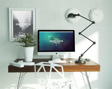 design poster on imac work space mockup mockup templates images vectors fonts