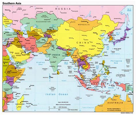 detailed map of asia detailed political map of southern asia with capitals and