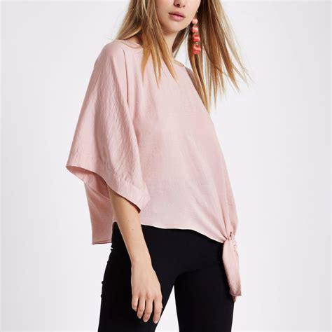 light pink shirt womens light pink sleeve knot side t shirt tops sale