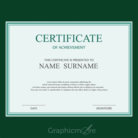 certificate design vector file simple green border certificate design template free