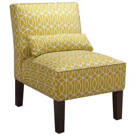 yellow patterned slipper chair features