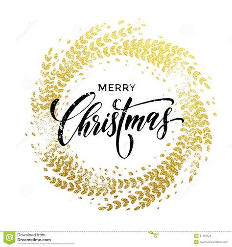 merry christmas gold glittering lettering design stock images