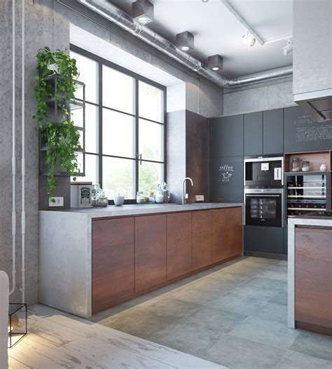 designing of kitchen an industrial home with warm hues