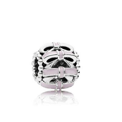 Openwork Bow Silver Charm With Soft Pink Enamel P 372 openwork bow silver charm with soft pink enamel pandora 6025 12 99 official pandora 174 e