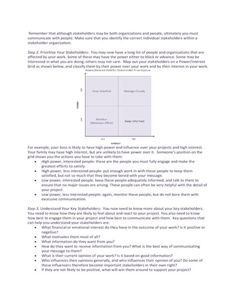 stakeholder document template stakeholder analysis sle template free