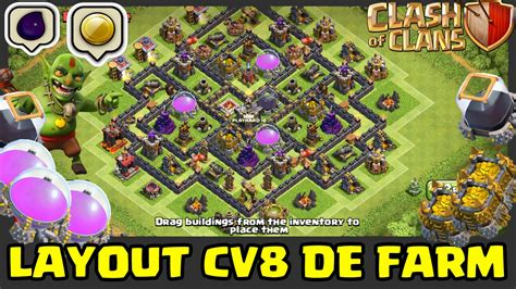layout cv 8 farming youtube layout cv 8 de farm clash of clans youtube