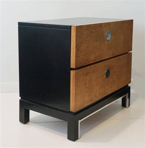 Black Nightstands For Sale Burl Wood And Black Lacquer Chest Or Nightstand For Sale