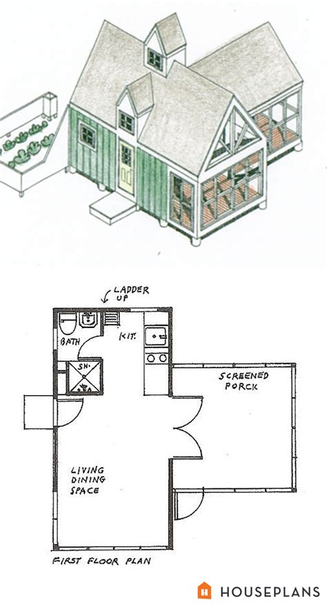 Cottage Style House Plan 1 Beds 1 Baths 213 Sq Ft Plan Lester Walker Tiny Houses